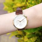 ROSEFIELD / NCDBG-N93 / 氣質典雅 三眼計時 日本機芯 真皮壓紋手錶 白x金框x紅褐 33mm