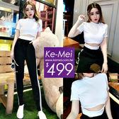 克妹Ke-Mei【ZT51911】韓版chic設計風!摟空美腰顯胸T+單槓運動褲套裝