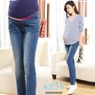 刷白修身孕婦托腹【腰圍可調】牛仔褲 藍【CQH3306】孕味十足 孕婦裝