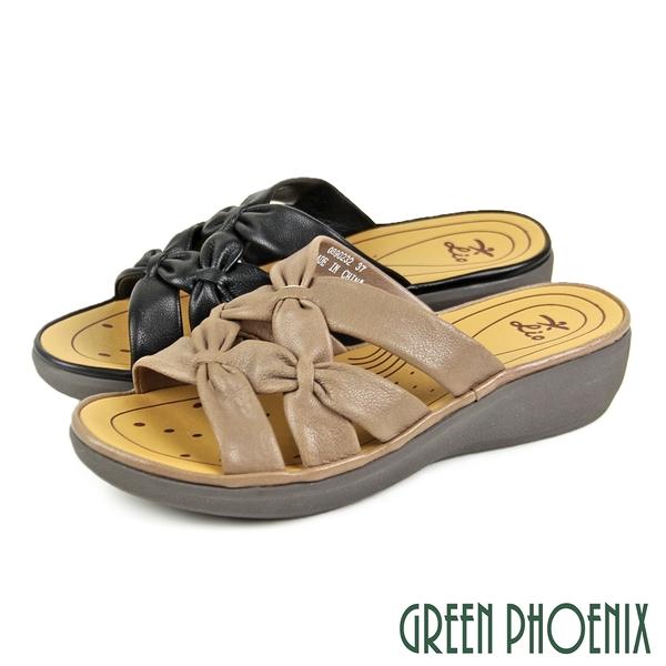 U24-28902 女款厚底拖鞋 避震輕量雙交叉扭結軟羊皮小坡跟厚底拖鞋【GREEN PHOENIX】
