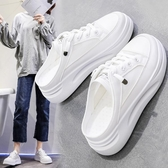 半拖鞋小白女鞋2020年新款夏季厚底外穿無后跟時尚懶人潮涼拖包頭半拖鞋 萊俐亞
