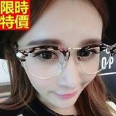 眼鏡架-時尚花色半圓框復古男女鏡框4色67ac29[巴黎精品]