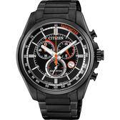 CITIZEN Eco-Drive 經典光動能計時腕錶-黑/42mm AT2136-87E