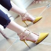 名媛風淺口時尚鉚釘尖頭鞋細跟高跟鞋一字扣涼鞋女 伊鞋本鋪