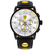 【僾瑪精品】Scuderia Ferrari 法拉利 儀表板設計元素三眼計時腕錶-銀/44mm/FA0830056