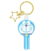 〔小禮堂〕哆啦A夢 大臉鑰匙造型矽膠鑰匙圈《藍白》掛飾.吊飾.鎖圈 4930972-49553
