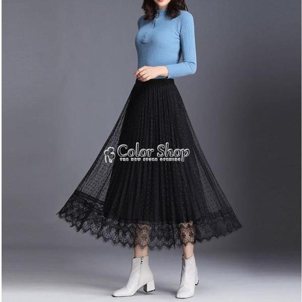 金絲絨半身裙女中長款紗裙秋冬新款波點網紗蕾絲兩面穿百褶裙 快速出貨