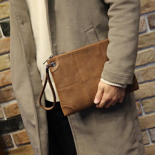PocoPlus 新款青年潮流手拿包 男士折疊手抓包 手拿包男休閒商務手包IPAD包 B899