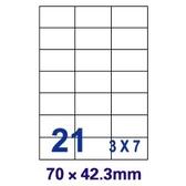 【裕德Unistar】US4668 70×42.3mm 21格 A4 三合一 電腦標籤(1盒100張)