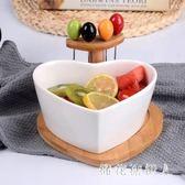 果盤 水果盤客廳創意家用陶瓷沙拉碗帶果叉糖果盒日式 AW8892【棉花糖伊人】