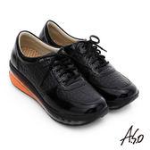 A.S.O 活力微笑 牛皮雙層抗震綁帶奈米休閒鞋  黑