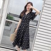 $399出清 韓國風復古氣質波點高腰飛飛袖魚尾短袖洋裝