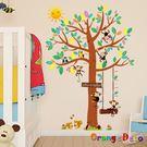 壁貼【橘果設計】猴子玩耍 DIY組合壁貼...