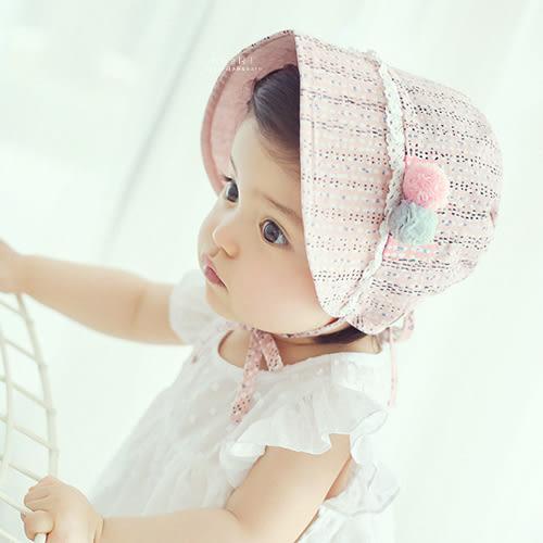 輕薄透氣碎花紗球綁帶遮陽帽 童帽 嬰兒帽 翻摺帽