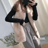 皮草馬甲女中長款冬季新款時尚年輕款海寧仿毛毛馬甲兔毛外套 Korea時尚記