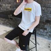 夏季短袖t恤男套裝休閒運動男士2019新款短褲男潮流帥氣男兩件套
