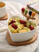 零食盤 創意干果盤陶瓷沙拉碗帶叉家用水果盤碗北歐客廳糖果盤小吃點心盤 美物居家館