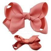 Cutie Bella 手工蝴蝶結髮夾 羅紋緞帶 全包布 中小款二入套組-Coral