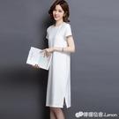 純棉白色t恤女中長款年夏季新款短袖百搭顯瘦過膝懶人洋裝 檸檬衣舍