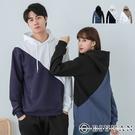 【OBIYUAN】情侶衣服 雙色拼接 刷毛T恤 長袖帽T 共3色【HJ2620】