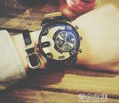 手錶男學生歐美潮流社會小伙創意大錶盤日歷個性男錶 青山市集