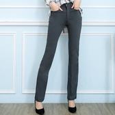 西裝褲--修長OL超彈性中腰修飾顯瘦素面微喇叭氣質長褲(黑.灰.咖S-7L)-P17眼圈熊中大尺碼◎