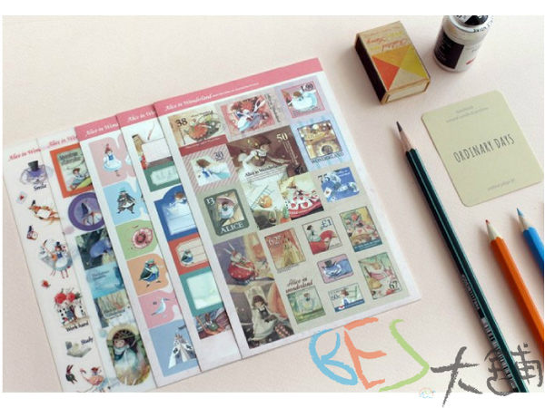 韓國│手帳│貼紙│童話故事系列日記貼紙 愛麗絲@復古風格透明+紙質貼紙分頁貼標籤貼便利貼
