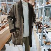 潮牌冬新款寬鬆加絨加厚羊羔毛大衣韓版廓形毛邊中長款風衣外套男