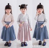 漢服女童裝改良中國風棉麻國學服裝兒童古裝短袖連身裙演出服 瑪麗蓮安