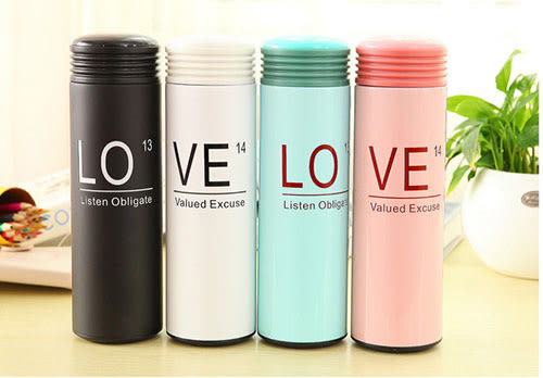 韓國 創意保溫杯 情人節 情侶時尚保溫杯 情人禮 不銹鋼保溫杯  情侶冬季保溫杯 450ml