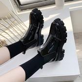 厚底鞋 馬丁靴女英倫風2020秋冬新款百搭厚底鬆糕鞋ins前拉鏈短筒短靴子