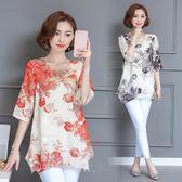 中老年女裝大碼短袖T恤30-40-50歲媽媽裝顯瘦夏裝中年雪紡衫上衣-大小姐韓風館
