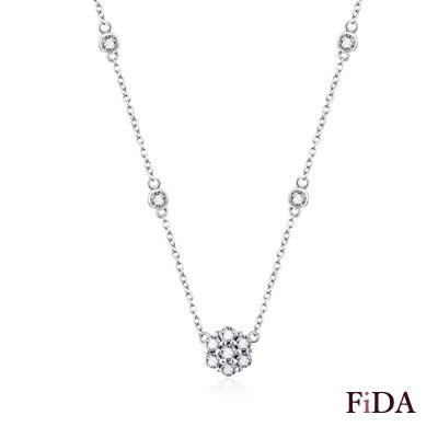 時尚鑽石花語 925純銀短項鍊 -FiDA
