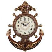 20英寸歐式舵手掛鐘客廳靜音藝術石英鐘錶海盜船舵時鐘igo