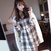 秋冬季新款韓版時尚氣質女裝小香風a字打底裙長袖格子洋裝連身裙
