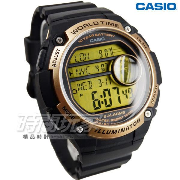 CASIO卡西歐 AE-3000W-9A 球狀大錶面設計潮流運動數位電子錶 男錶 防水手錶 黑x金框 AE-3000W-9AVDF
