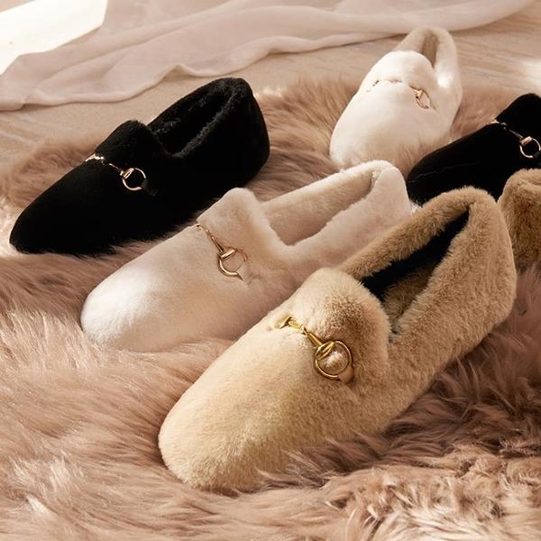 豆豆鞋 棉鞋女秋冬一腳蹬豆豆鞋冬季外穿毛毛鞋軟底加絨韓版白色 芊墨左岸