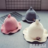 秋冬寶寶兒童毛線帽子新款8個月-3歲韓版1女童花邊盆帽2男童保暖  遇見生活