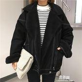 新款韓版寬鬆蝙蝠袖大衣加厚加絨羊羔毛牛仔外套女  易家樂