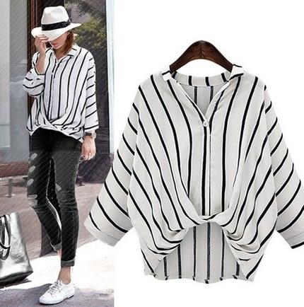 EASON SHOP(GU5564)大碼條紋長袖襯衫豎條紋落肩七分袖女上衣服素色白棉T春夏裝韓版寬鬆白色黑色