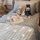Cube&Line【床包灰線條】S4單人床包雙人兩用被3件組 四季磨毛布 北歐風 台灣製造 棉床本舖