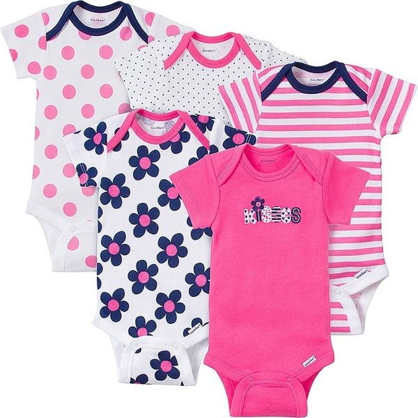 包屁衣 Gerber Childrenswear 短袖包屁衣 / 哈衣 超值5件組 - 桃白深藍小花 KISSES 5215-0798