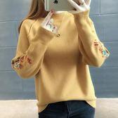 毛衣秋冬短款毛衣女新款套頭女裝寬松繡花針織衫打底衫潮「爆米花」