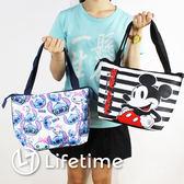 〖LifeTime〗﹝迪士尼保溫便當袋﹞正版手提帆布便當袋 保冷保熱收納袋 野餐袋 米奇 史迪奇 B19084