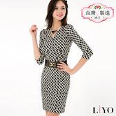 LIYO理優MIT幾何印花洋裝E636009