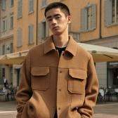 GXG男裝2019冬季新款韓版呢子咖色含羊毛保暖夾克短大衣時髦外套  潮流衣館