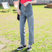 《BA4670》高含棉褲腳不規則設計刷破牛仔直筒褲 OrangeBear