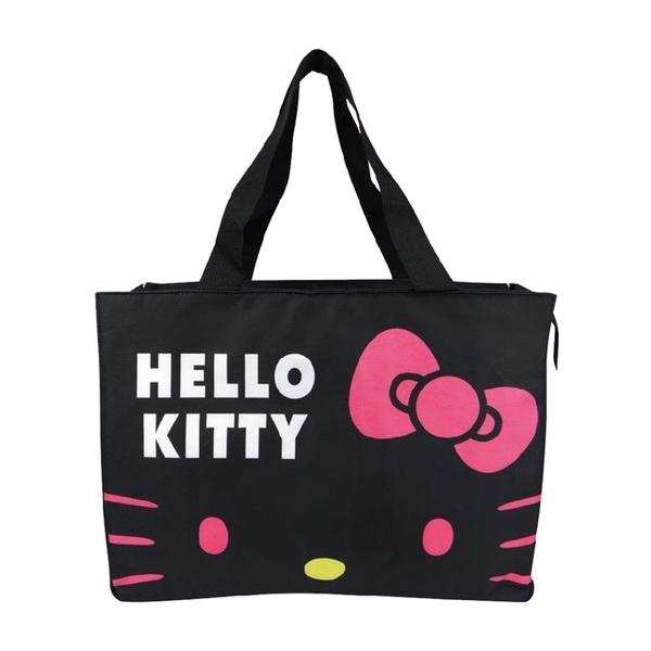 小禮堂 Hello Kitty 船形尼龍保冷側背袋 保冷提袋 保溫袋 野餐袋 購物袋 (黑 大臉) 4713218-89202