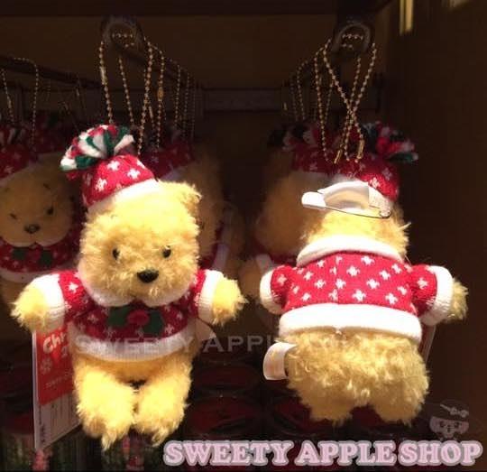 東京迪士尼限定 小熊維尼 聖誕珠鏈別針玩偶娃娃