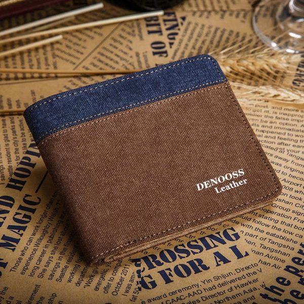 男士錢包帆布錢包男士短款薄款小票夾橫款皮夾卡包錢夾日韓